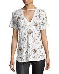 Haute Hippie The Rebel Embellished Tee Gray