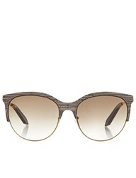 Victoria Beckham Eyewear Amazing Snake Combination Cat Eye Sunglasses Beige