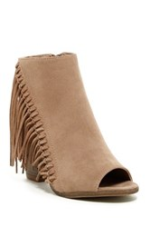 Rampage Lauryn Open Toe Fringe Bootie Brown