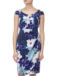 Adrianna Papell Cold Shoulder Origami Dress Blue Multi
