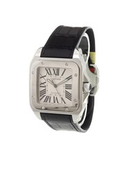 Cartier 'Santos 100' Analog Watch Stainless Steel