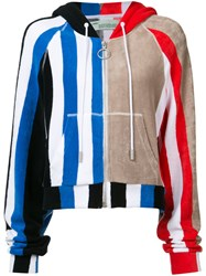 Off White Beige Striped Zipped Hoodie Women Cotton S Off White