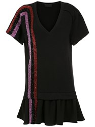 Andrea Bogosian Short Embroidered Dress Black