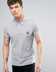 United Colors Of Benetton Short Sleeve Polo Shirt In Slim Fit Grey M 501
