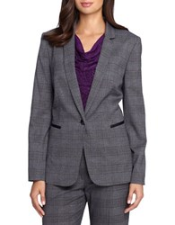Tahari By Arthur S. Levine Petite Faux Leather Trimmed Plaid Jacket Grey