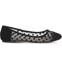 Office Frankie Polka Dot Ballet Flats Black Mesh