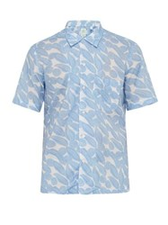 Finamore 1925 Bart Leaf Print Cotton Shirt Blue