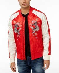 Guess Men's Irvine Satin Bomber Jacket Rococco Red Multi