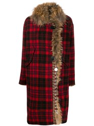 Bazar Deluxe Toggle Fastening Tartan Coat Red