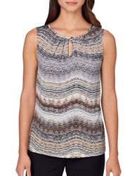 Tahari By Arthur S. Levine Printed Sleeveless Top Tan Grey