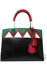 Prada Zig Zag Esplanade Textured Leather Tote Black