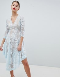 Forever Unique Lace Dipped Hem Dress Blue