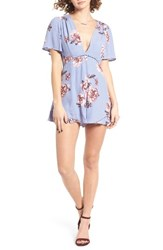 Astr Women's Cadence Romper Periwinkle Floral