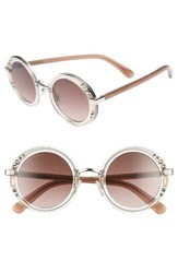 Jimmy Choo Women's Gems 48Mm Round Sunglasses Crystal Gold Black Crystal Gold Black
