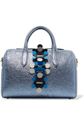 Anya Hindmarch Vere Barrel Laser Cut Appliqued Metallic Textured Leather Tote Blue