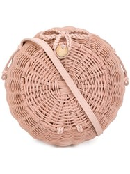 Ulla Johnson Round Woven Crossbody Bag Pink