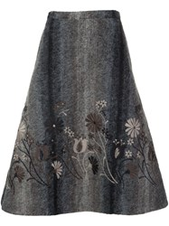 Co Floral Embroidered Full Skirt Grey