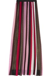 Missoni Pleated Crochet Knit Maxi Skirt Baby Pink