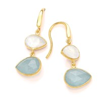 Dione London Artemis Moonstone And Aqua Tear Earrings White Gold Green
