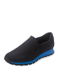 Prada Suede Slip On Sneaker Black