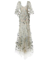 Marchesa Feather Embroidered Fishtail Gown Grey