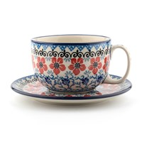 Bunzlau Castle Breakfast Cup And Saucer Red Violets