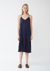Raquel Allegra Pebble Satin Little Slip Dress Indigo