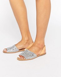 Pieces Psevey Silver Glitter Leather Sandals Glitter Silver