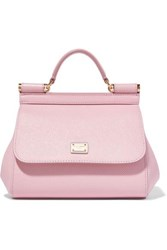 Dolce And Gabbana Sicily Micro Textured Leather Tote Pink