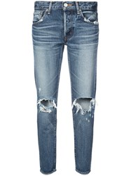Moussy Vintage Cropped Ripped Knee Jeans Blue