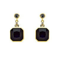 Monet Gold Indigo Crystal Drop Earrings