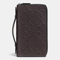 Coach Double Zip Travel Organizer In Signature Crossgrain Leather Mahogany