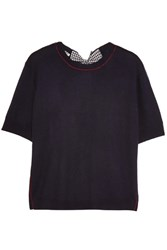 Miu Miu Split Back Bow Embellished Wool Sweater Navy