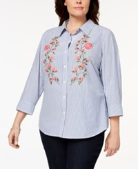 Karen Scott Plus Size Cotton Embroidered Shirt Created For Macy's Pink Combo