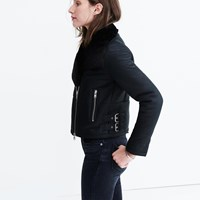 Madewell Shearling Motorcycle Jacket True Black
