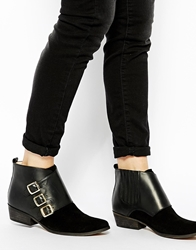 Ganni Asya Texas Buckle Flat Ankle Boots Black