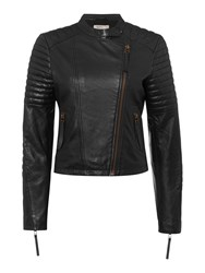 Label Lab Leather Biker Jacket Black