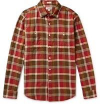 J.Crew Wallace And Barnes Slim Fit Checked Cotton Flannel Shirt Red
