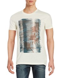 Selected Printed Cotton Blend Tee Egret White