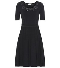 Fendi Leather Trimmed Knitted Dress Black