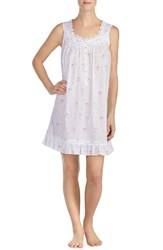 Eileen West Short Lawn Nightgown White Ground With Bouquet Toss
