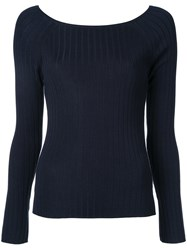 Estnation Boat Neck Jumper Women Silk Lyocell Rayon 38 Blue