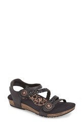 Women's Aetrex 'Jillian' Braided Leather Strap Sandal Black