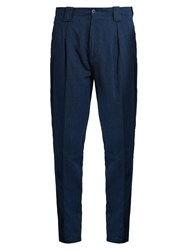 Etro Tapered Leg Linen Blend Trousers Navy
