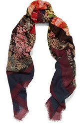 Balenciaga Kaleidoscope Printed Wool And Silk Blend Scarf Black