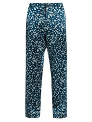 Meng Floral Print Silk Satin Pyjama Trousers Blue Multi