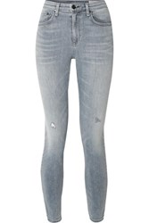 Rag And Bone Cate Cropped Distressed Mid Rise Skinny Jeans Gray
