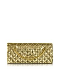 Love Moschino Evening Laminated Quilted Eco Leather Clutch Gold
