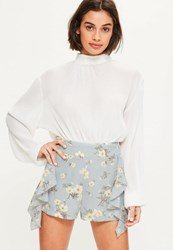 Missguided Blue Ruffle Side High Waisted Shorts