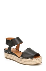 Franco Sarto By Oak Platform Wedge Espadrille Black Black Leather